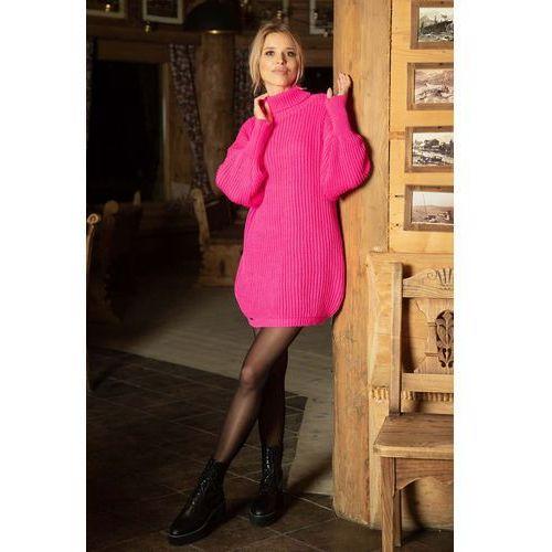 d9034916d55ff6 Fobya Różowa swetrowa sukienka - tunika z półgolfem