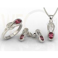77c496b8caea15 Zestaw: pierścionek, kolczyki i wisiorek z białego złota z rubinami  BP-69B-ZESTAW - Rubin, kolor czerwony