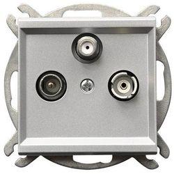 Gniazdo antenowe Ospel Sonata GPA-RSP/m/38 RTV-SAT przelotowe srebrny mat (5907577447502)
