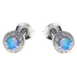 Delikatne okrągłe rodowane srebrne kolczyki z opalem i cyrkoniami opal cyrkonie srebro 925 V013E, kolor szary