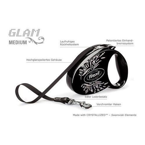 Ogromny Flexi glam medium m biała smycz automatyczna taśma z kryształkami SO95