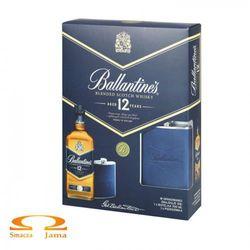 Whiskey ballantine's 12 yo + piersiówka marki George ballantine & son ltd.