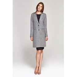 Jednorzędowy płaszcz damski - szary