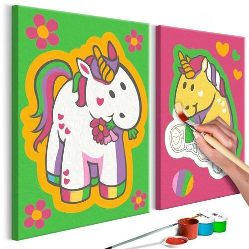 Obraz do samodzielnego malowania - jednorożce (zieleń i róż) marki Artgeist