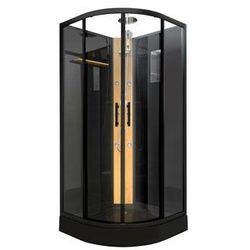 Kabina prysznicowa KYOU w kolorze czarnym - tropikalny deszcz i bambusowy panel - Dł.90 x Gł.90 x Wys.220 cm
