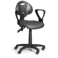 Fotele i krzesła biurowe, Krzesło PUR z podłokietnikami, asynchroniczna mechanika, do twardych podłóg