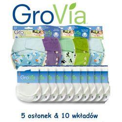 Zestaw Pieluszek GroVia Hybrid SIO OneSize (5 Osłonek & 10 Wkładów), GROVIA