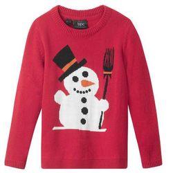Sweter bożonarodzeniowy z motywem bałwanka bonprix ciemnoczerwony