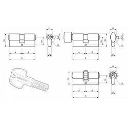 Wkładka GERDA PRO System z zębatką z gałką 40/40 mosiądz