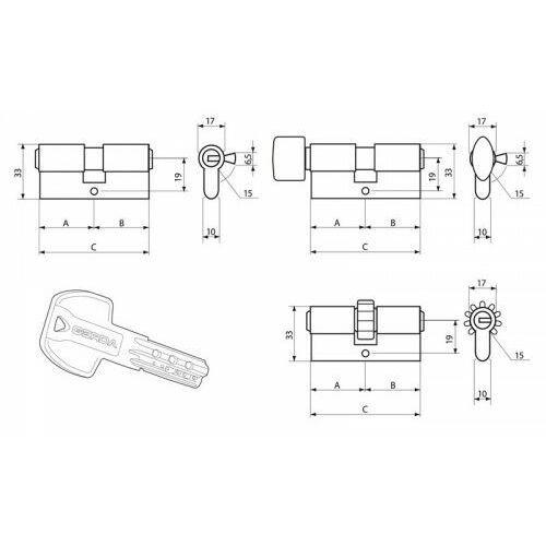 Wkładki do zamków, Wkładka GERDA PRO System z zębatką z gałką 40/40 mosiądz