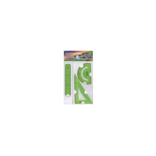 Przybory geometryczne, Zestaw geometryczny 3 elementy 15 cm Bambino flexi zielony