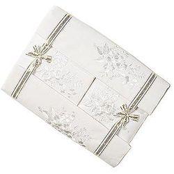 Pościel bawełniana haftowana z prześcieradłem 160x200 biała