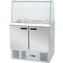 Stół chłodniczy 3-drzwiowy z nadstawą sałatkową 1365x700x1300 mm | STALGAST, 842232
