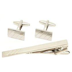 Komplet eleganckich spinek srebrnych + spinka do krawata