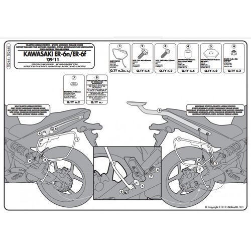 Stelaże motocyklowe, Kappa te266k stelaż pod sakwy boczne kawasaki er-6n