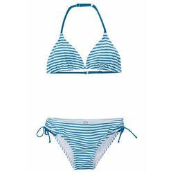 Bikini dziewczęce (2 części) bonprix niebieskozielono-biały w paski