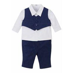 Koszula niemowlęca + kamizelka + spodnie (3 części) bonprix ciemnoniebiesko-biały