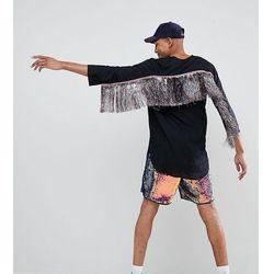 ASOS DESIGN Tall festival regular fit longline shirt with rainbow tassles - Black