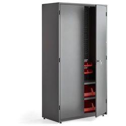 Szafa narzędziowa, z wyposażeniem, 2 półki, panel narzędziowy, 24 pojemniki, 1900x1020x500 mm, szary
