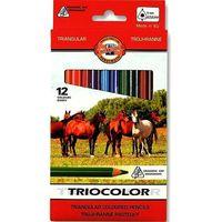 Kredki, Kredki trójkątne Tricolor 12 kolorów 9mm Kooh-i-noor