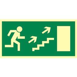 Kierunek do wyjścia drogi ewakuacyjnej schodami w górę w prawo (znak uzupełniający)
