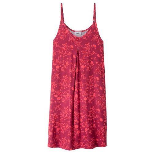 Sukienki dla dzieci, Sukienka shirtowa z nadrukiem bonprix czerwony wiśniowy - koralowy z nadrukiem