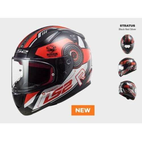 Kaski motocyklowe, KASK MOTOCYKLOWY COMFORT LS2 FF353 RAPID STRATUS BLACK RED SILVER - Nowość 2021 roku