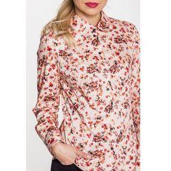 Beżowa koszula w kwiaty - Duet Woman