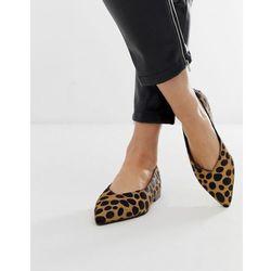 ASOS DESIGN Leanne leather high vamp slingback ballet flats in leopard - Multi