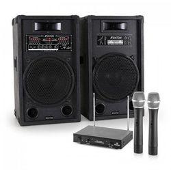 """Zestaw karaoke """"STAR-12"""" aktywny zestaw kolumn nagłośnieniowych   2-kanałowy bezprzewodowy zestaw mikrofonowy VHF"""