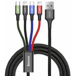 Baseus kabel przewód USB 4w1 2x Lightning / USB Typ C / micro USB w nylonowym oplocie 3.5A 1.2m czarny (CA1T4-A01)