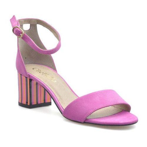 Sandały damskie, Sandały CheBello 2443-152 Różowe zamsz