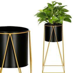 Stojak na kwiaty 52 cm z doniczką nowoczesny kwietnik loft czarno-złoty mat