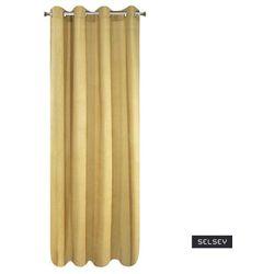 SELSEY Zasłona Berven 140x250 cm zaciemniająca z imitacją sztruksu musztardowa