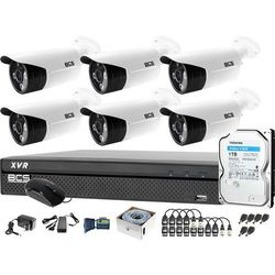 Zestaw do monitoringu 6 kamer BCS-TQE3500IR3-B Rejestrator BCS-XVR0801-III Dysk 1TB