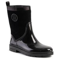 Kalosze TOMMY HILFIGER - Warmlined Suede Rain Boot FW0FW03976 Black 990