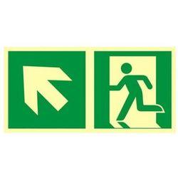 znak kierunek do wyjścia ewakuacyjnego w górę w lewo