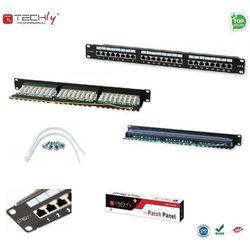 Techly Patch panel 19, 1U, STP 24 porty, RJ45, Cat6, T568A/B, z półką, czarny (022878) Darmowy odbiór w 21 miastach!