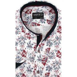Lniana Koszula Męska Sefiro biała w bordowe kwiaty SLIM FIT na krótki rękaw K918