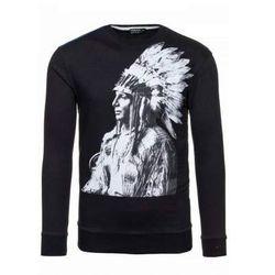 Czarna bluza męska bez kaptura z nadrukiem Denley 0413