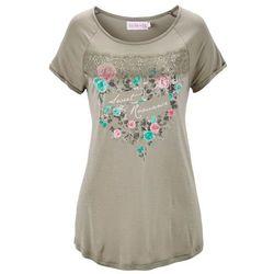Shirt z kolekcji Maite Kelly, krótki rękaw bonprix khaki z nadrukiem