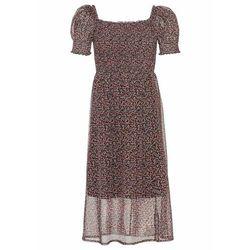 Sukienka z dekoltem karo i przeszyciem cienkimi gumkami bonprix czarno-różowy w kwiaty