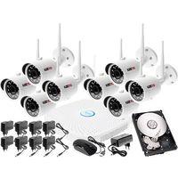 Zestawy monitoringowe, Monitoringu bezprzewodowy zestaw kamery zewnętrzne IP HD WIFI IP + Rejestrator sieciowy 8 kanałowy IP + Dysk 500GB + Akcesoria