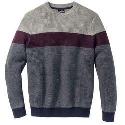 Sweter z okrągłym dekoltem Regular Fit bonprix szary melanż - czerwony klonowy w paski