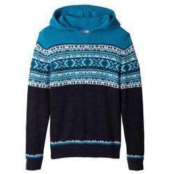 Sweter dzianinowy z kapturem bonprix antracytowy melanż