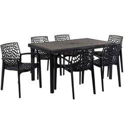 Jadalnia ogrodowa DIADEME – Stół + 6 foteli – Polipropylen – Kolor szary antracytowy