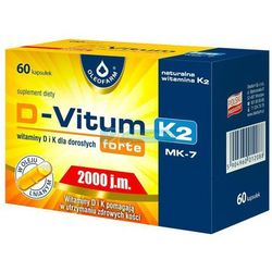 Witamina K i D dla dorosłych D-Vitum forte D3 2000 j.m. naturalna K2 MK-7 75 mcg 36 kapsułek Oleofarm