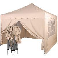 Namioty ogrodowe, EKSPRESOWY BEŻOWY PAWILON NAMIOT OGRODOWY 3X3M + 4 ŚCIANKI - Beżowy