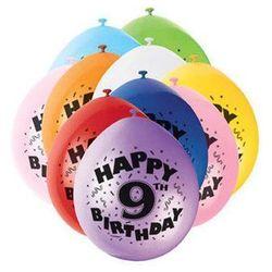 Balony pastelowe z nadrukiem dziewiątka 9 - mix - 23 cm - 10 szt.