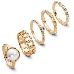 Komplet pierścionków (5 części) bonprix złoty kolor